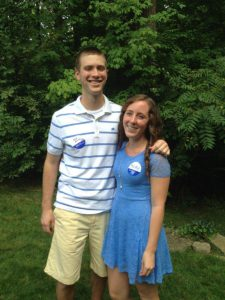 Our 2012 (Braihan Becke) and 2013 (Rebecca Puckett) Scholarship winners at the Penn State Picnic and Student Send-off, August 2013.